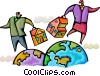 People with houses walking on globes Vector Clip Art picture