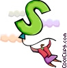 Businesswoman with dollar sign balloon Vector Clipart illustration