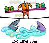 Businessman balancing money over sharks Vector Clip Art picture