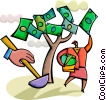 woman picking cash from money tree Vector Clip Art picture