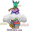 Educational Concepts Graduate reaching for the sky Vector Clipart image
