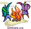 Business people at camp fire Vector Clip Art picture