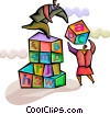 Educational Concepts Students with building blocks Vector Clipart graphic