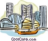 Asian fishing boat passing by the skyline Vector Clip Art graphic