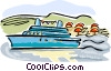 Vector Clip Art graphic  of a Cruise ship at dock