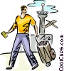 Man walking through an airport with his luggage Vector Clipart image