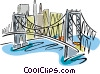 Vector Clipart graphic  of a Bridge with a cityscape