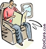 Passenger reading a magazine on a flight Vector Clipart graphic
