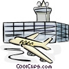 Vector Clipart picture  of an Airplane taking off from the