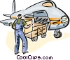 Airport employee loading luggage onto airplane Vector Clip Art image