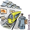 Vector Clip Art image  of a Train passenger waiting for a