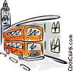 Vector Clip Art graphic  of a Double decker bus and Big Ben