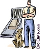 Airport security and his drug sniffing dog Vector Clipart image