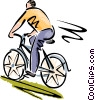 Vector Clipart graphic  of a Man riding his bicycle