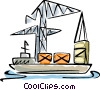 Vector Clipart graphic  of a Cargo ship being loaded with