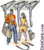 Passengers walking through a terminal Vector Clipart illustration
