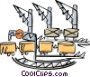 Vector Clip Art graphic  of a Shipping container being loaded