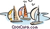 Vector Clip Art image  of a Sailboats in the harbor