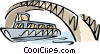 Sight seeing boat passing under bridge Vector Clip Art picture