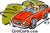 Vector Clipart graphic  of a Couple going for a drive