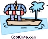 man with life preserver in sinking boat Vector Clipart graphic