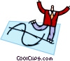 Businessman on skates with dollar sign Vector Clipart graphic