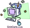 Businessman repairing computer Vector Clip Art picture