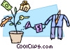man watering car, house, and money tree Vector Clipart picture