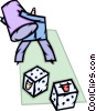man rolling the dice in the stock market Vector Clipart illustration