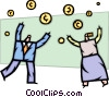 Business people catching falling coins Vector Clipart picture