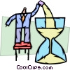 Businessman filling hourglass with sand Vector Clipart picture