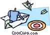 Businessmen in paper airplanes on target Vector Clip Art image