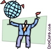 Businessman with globe and flags Vector Clipart picture
