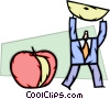 Businessman taking piece of apple Vector Clipart illustration