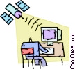 Satellite communicating with computer Vector Clipart picture