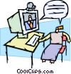People chatting online Vector Clipart illustration