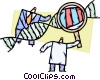Scientists and Researchers with DNA strand Vector Clipart illustration
