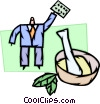 Scientist with mortar, pestle and pills Vector Clipart picture