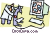 Scientist with microscope and monitor Vector Clip Art picture