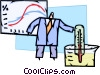Scientist with thermometer and chemicals Vector Clip Art image