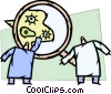 magnifying glass looking at bacteria Vector Clip Art graphic