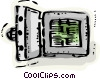 Open bank vault with cash Vector Clipart picture