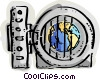 Vault with planet earth Vector Clip Art graphic