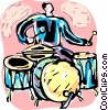 Drummer playing drums Vector Clip Art picture