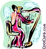 Vector Clip Art image  of a Harpists