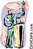 Vector Clipart graphic  of an Award presenter giving out