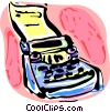 Vector Clip Art graphic  of a Typewriter and paper