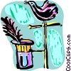 Magician's hat with bird Vector Clipart image