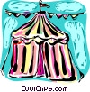 Vector Clipart picture  of a Circus tent with streamers