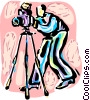 Vector Clipart graphic  of a Photographer with camera